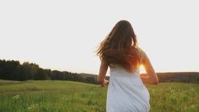 Gelukkige vrouw met bloemboeket die op het gebied bij zonsondergang lopen, en in een weide genieten van lachen stock videobeelden
