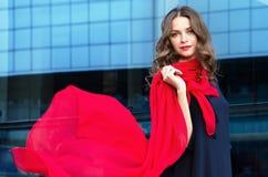 Gelukkige vrouw met een sjaal Portret van het mooie meisje Modieus portret van een meisjesmodel met golvende rode zijdesjaal Stock Afbeeldingen