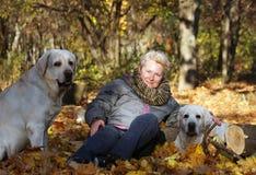 Gelukkige Vrouw met Gele Labradors in Autumn Park In de zonnige dag royalty-vrije stock afbeelding