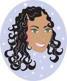 Gelukkige Vrouw met Krullend Golvend Haar. stock illustratie