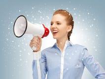 Gelukkige vrouw met megafoon Stock Afbeelding