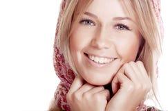 Gelukkige vrouw met mooie glimlach royalty-vrije stock foto