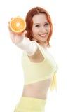 Gelukkige vrouw met sinaasappelen Stock Fotografie