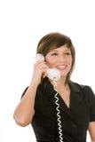 Gelukkige vrouw met telefoon Royalty-vrije Stock Afbeeldingen