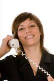 Gelukkige vrouw met telefoon Stock Foto's