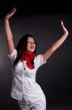 Gelukkige Vrouw met Wapens in Lucht Stock Afbeelding