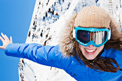 Gelukkige vrouw in skizonnebril Royalty-vrije Stock Foto