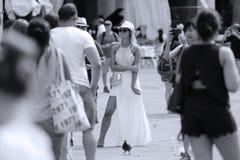 Gelukkige vrouw in Venetië, Italië royalty-vrije stock foto's