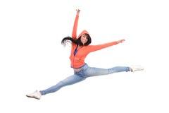 Gelukkige vrouwelijke gespleten sprong Royalty-vrije Stock Afbeeldingen