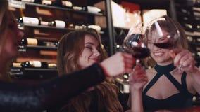 Gelukkige vrouwelijke vrienden die het wijnglas opheffen om een toost te maken, en de rode wijn toejuichen drinken Gelukkige vier stock video