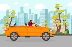 Gelukkige Vrouwen Berijdende Cabriolet Auto in de Zomerdag vector illustratie