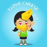 Gelukkige vrouwen dragende vork met grote kaas Stock Afbeeldingen