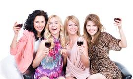 Gelukkige vrouwen met glazen wijn stock fotografie