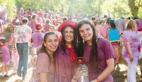 Gelukkige vrouwen tijdens Batalla del vino Royalty-vrije Stock Foto