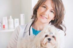 Gelukkige vrouwendierenarts die een kleine hond houden royalty-vrije stock afbeelding