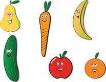 Gelukkige vruchten en groenten Royalty-vrije Stock Afbeeldingen