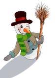 Gelukkige welkome sneeuwman u Royalty-vrije Stock Afbeelding