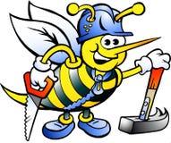 Gelukkige Werkende Timmerman Bee Royalty-vrije Stock Afbeelding