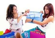 Gelukkige winkelende meisjes Stock Afbeeldingen