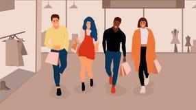 Gelukkige winkelende mensen stock illustratie