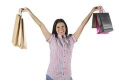 Gelukkige winkelende vrouw Stock Afbeeldingen