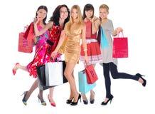 Gelukkige winkelende vrouwen Stock Afbeelding