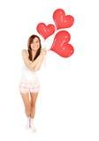 Gelukkige womanl met ballons Stock Afbeelding