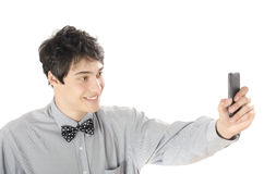 Gelukkige zakenman die een selfiefoto met zijn slimme telefoon nemen Stock Afbeeldingen