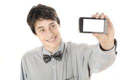 Gelukkige zakenman die een selfiefoto met zijn slimme telefoon nemen Royalty-vrije Stock Foto's