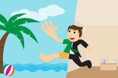 Gelukkige zakenman die op het strand voor vakantie gaan ontspannen vector illustratie