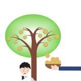 Gelukkige zakenman en pot het water geven het groeien geldboom, Bahtteken op witte achtergrond Royalty-vrije Stock Afbeelding