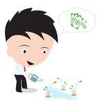 Gelukkige zakenman en pot het water geven het groeien geldboom en het denken op witte achtergrond Stock Fotografie