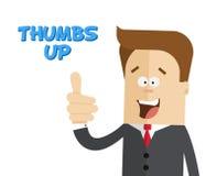 Gelukkige zakenman of manager Het teken beduimelt omhoog Geïsoleerde vlakke illustratie Stock Afbeeldingen