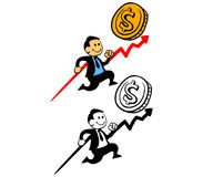 Gelukkige Zakenman Pursue Sales Target Royalty-vrije Stock Fotografie