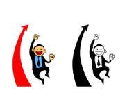 Gelukkige Zakenman Reach Sales Target Stock Afbeeldingen