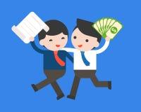 Gelukkige zakenman twee houdt een contract en geldnotabank, busin vector illustratie