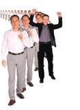 Gelukkige zakenman van de collage van het mensendossier Stock Foto