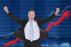 Gelukkige zakenman voor grafiek royalty-vrije stock foto