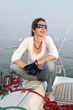 Gelukkige zeemansvrouw Stock Foto