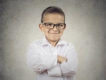 Gelukkige zeker weinig jongen, kleine mens Stock Foto's