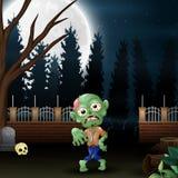 Gelukkige zombie in de tuin bij nacht vector illustratie