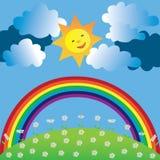Gelukkige zon en regenboog Royalty-vrije Stock Fotografie