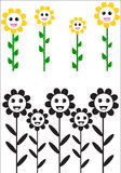 Gelukkige zonbloemen Royalty-vrije Stock Foto's