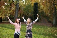 Gelukkige zusters in een park stock foto
