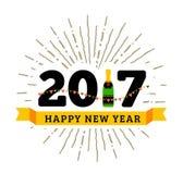 Gelukwensen aan het gelukkige nieuwe jaar van 2017 met een fles champagne, vlaggen stock illustratie