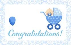 Gelukwensen, babyjongen, kaart, het Engels, vector stock illustratie