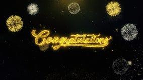 Gelukwensen geschreven gouden deeltjes die vuurwerkvertoning exploderen vector illustratie