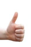 Gelukwensen!! Het menselijke hand geven beduimelt omhoog Stock Afbeelding