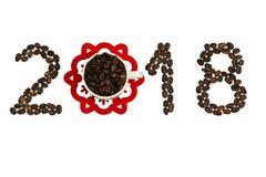 Gelukwensen op het Nieuwjaar met koffiebonen Stock Foto