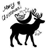 Gelukwensen op Kerstmis en herten dragende giften van Santa Claus stock illustratie